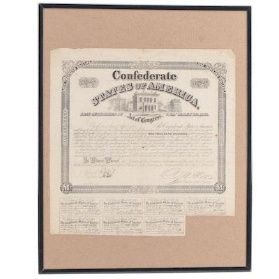 Obsolete Confederate $1,000 War Bond, 1863