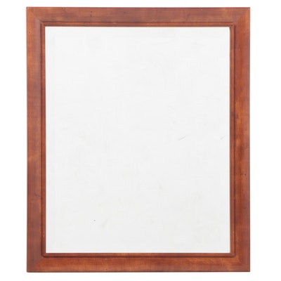 Contemporary Cherrywood-Grained Laminate and Beveled Glass Wall Mirror