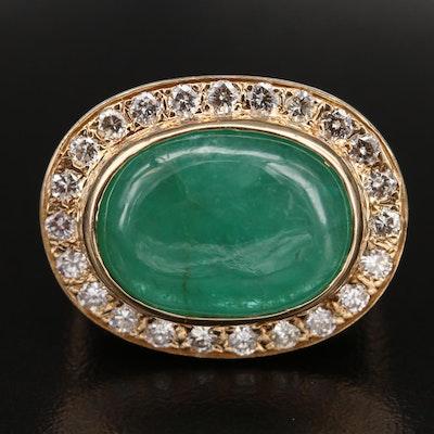 14K 14.40 CT Emerald and Diamond Halo Ring