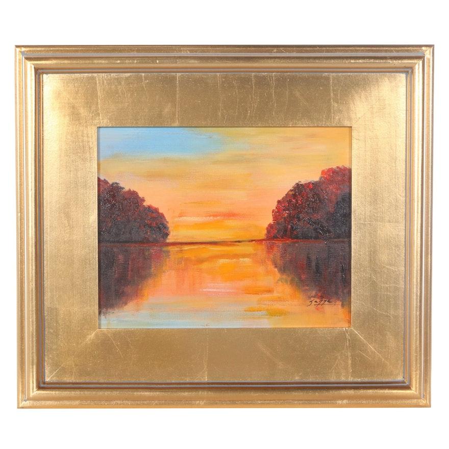 "Sanna Landscape Oil Painting ""Reflections,"" 2021"