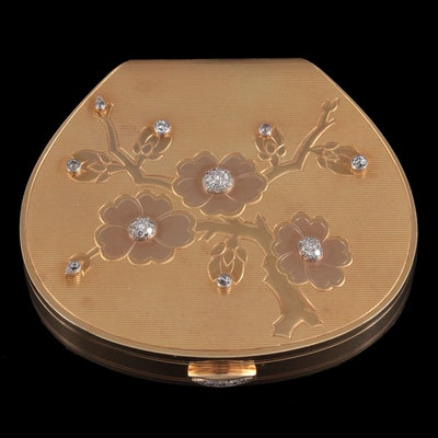 Cartier 18K Yellow Gold and 0.92 CTW Diamond Compact with Platinum Accents, 1952