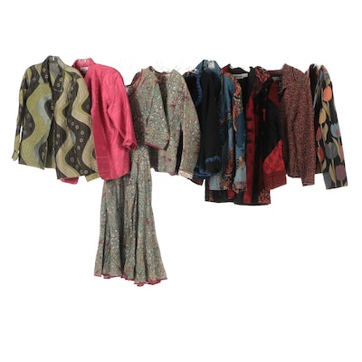 Bamyan Print Dress and Jacket with Other Print and Textured Jackets