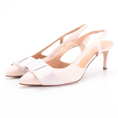 Brooks Brothers Slingback Heels in Pink Leather with Grosgrain Flat Bow