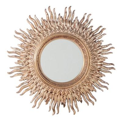 Modernist Style Gilt and Molded Plastic Sunburst Mirror