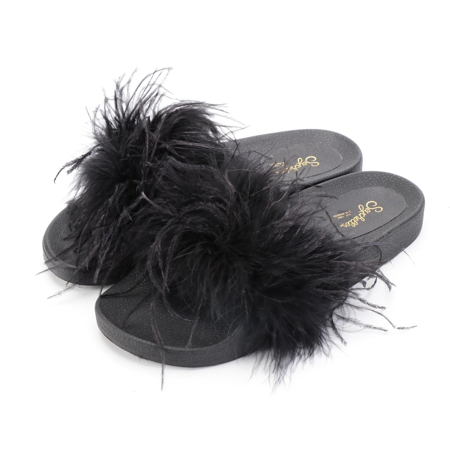 Seychelles In Your Cap Feathered Black Slip Ons