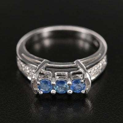 Sterling Sapphire Ring with Zircon Shoulders