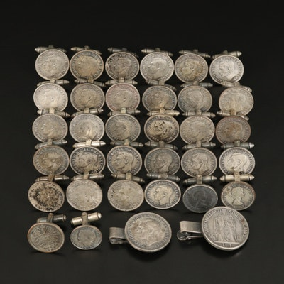 Coin Themed Cufflinks and Tie Clips
