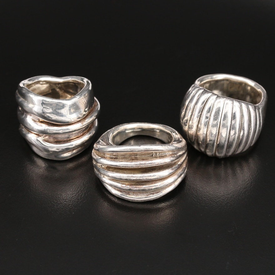 Sterling Silver Scalloped and Fluted Rings