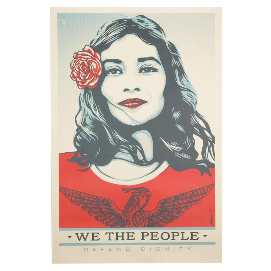 """Shepard Fairey for Amplifier Giclée """"We the People: Defend Dignity"""""""
