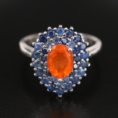 Sterling Silver Fire Opal and Sapphire Double-Halo Teardrop Ring