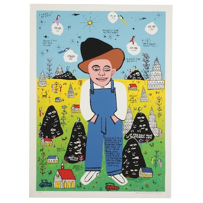 """Howard Finster Folk Art Serigraph """"Elvis at 3 is an Angel to Me,"""" Circa 1988"""