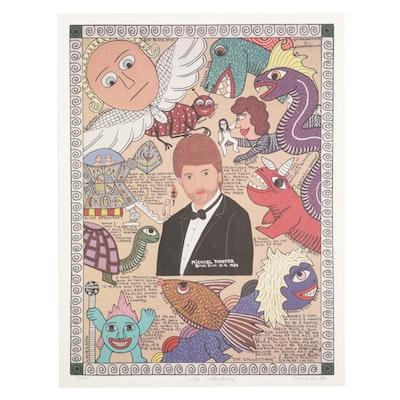 "Michael Finster Folk Art Offset Lithograph ""The Collection,"" Circa 1995"
