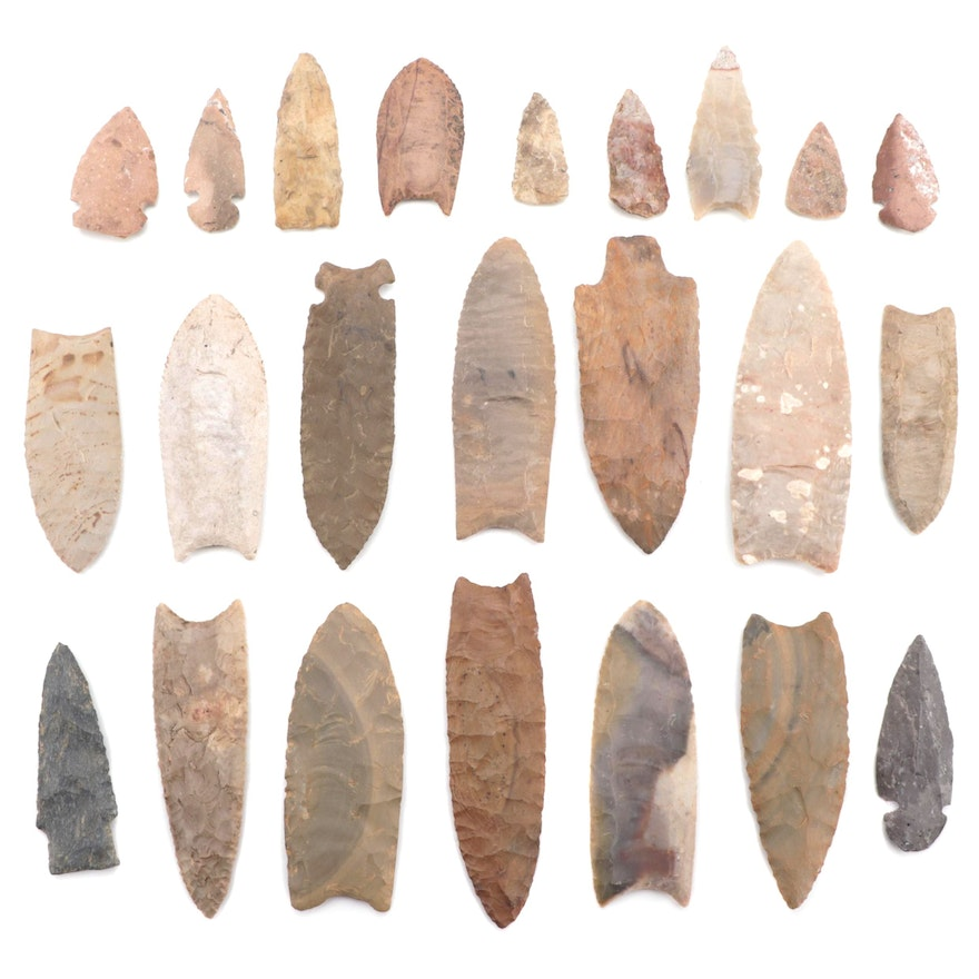 Native American Lanceolate Projectile Points Including Reproductions