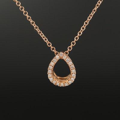 18K Open Teardrop Diamond Pendant Necklace