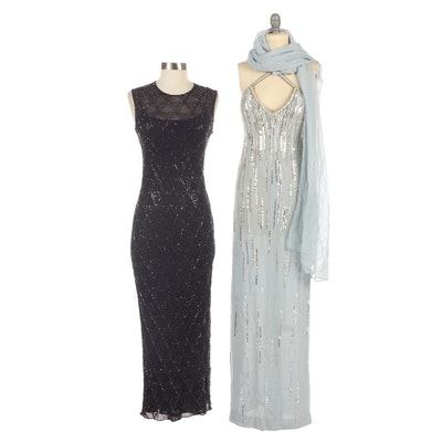 Bernard Perris Silk Chiffon Beaded Gown and Wrap with Tahari Beaded Silk Gown