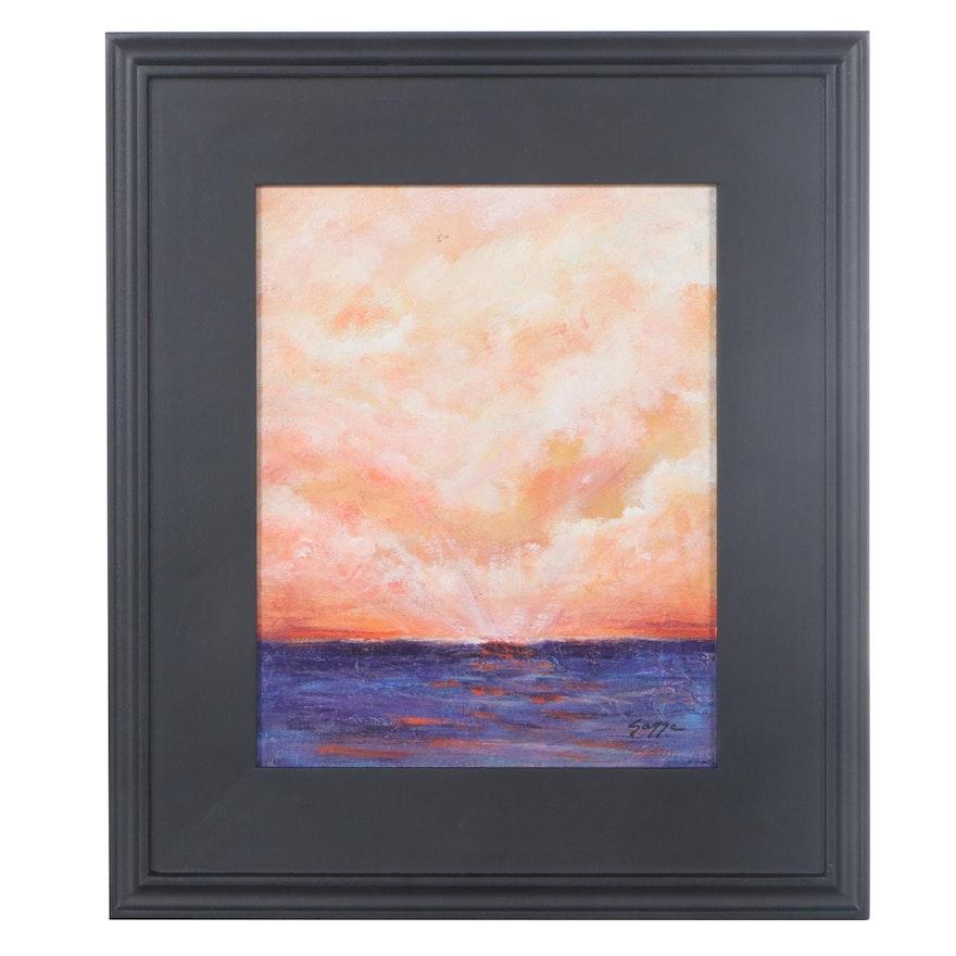 """Sanna Acrylic Painting """"Coral Sky,"""" 2021"""