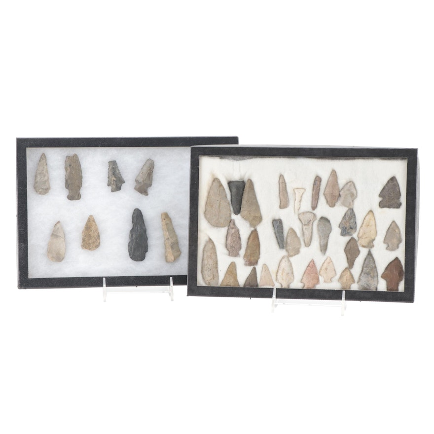 Native American Stemmed and Triangular Projectile Points with Lithic Tools