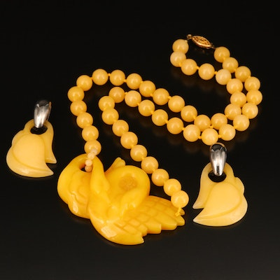Carved Jadeite Swan Beaded Necklace and Earrings