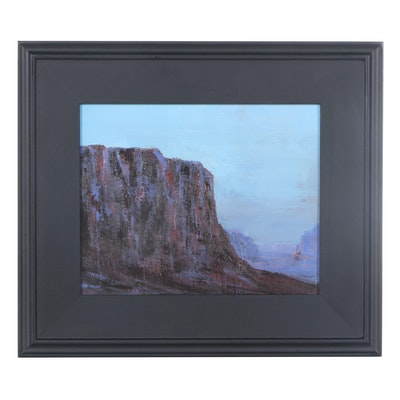 "Sanna Landscape Acrylic Painting ""First Light,"" 2021"