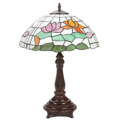 Art Nouveau Style Water Lily Slag Glass Table Lamp with Bronzed Metal Body