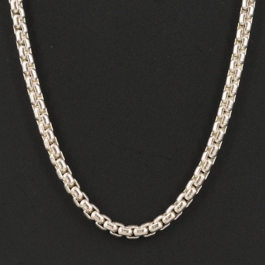 Joseph Esposito Sterling Silver Box Chain Necklace