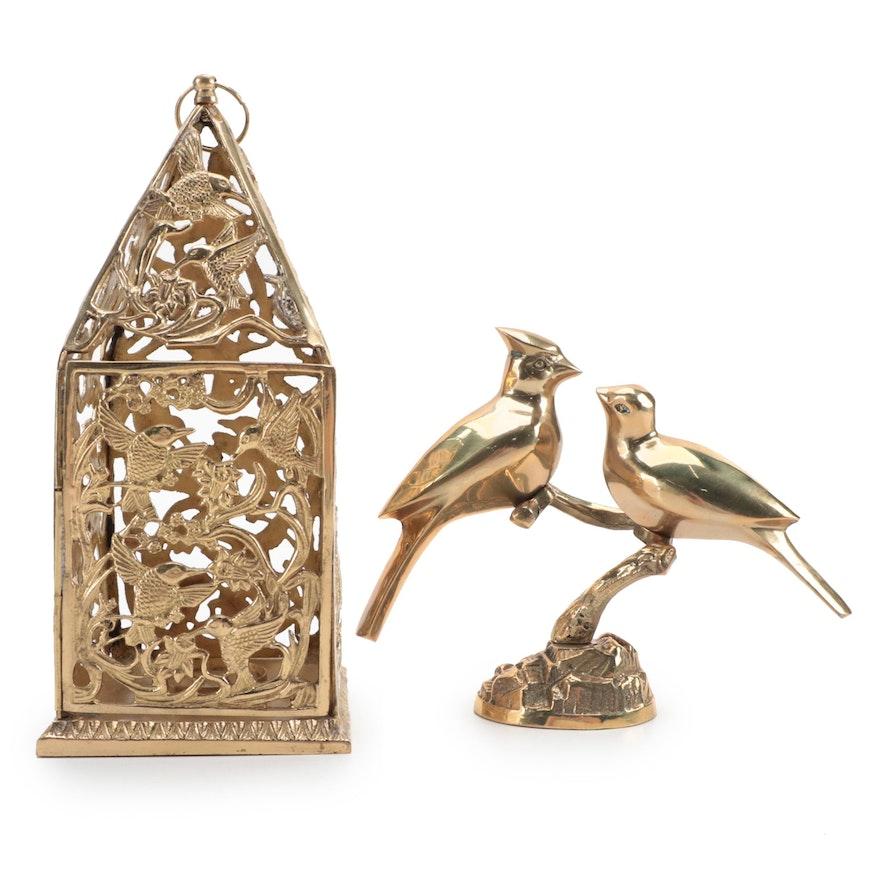 Cast Brass Cardinal Figurine with Hummingbird Motif Votive Holder