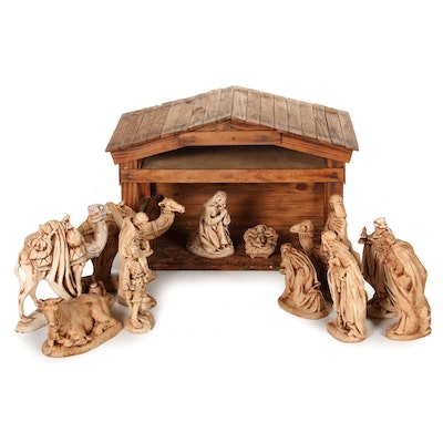 Atlantic Mold Ceramic Nativity Set with Wooden Stable, Late 20th Century