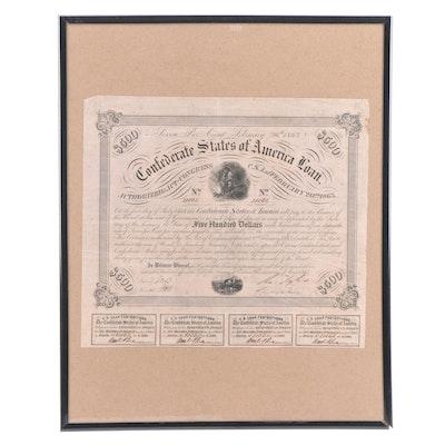 Obsolete Confederate $500 War Bond, 1863