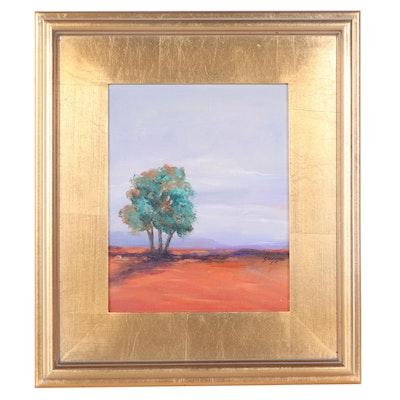 """Sanna Landscape Acrylic Painting """"Long Shadow,"""" 2021"""