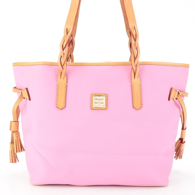 Dooney & Bourke Tote Bag in Pink Pebbled and Tan Leather