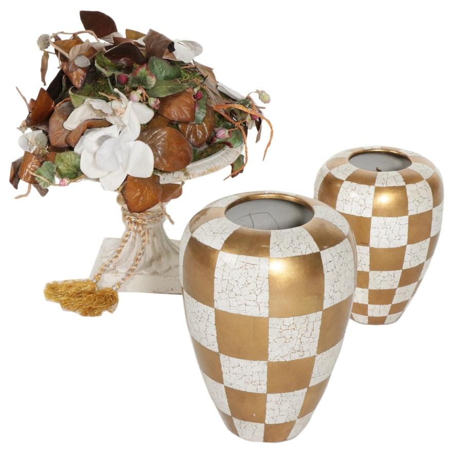 Checkered Craquelure Vases with Centerpiece Bowl and Floral Arrangement