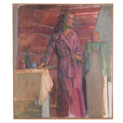 Figurative Oil Painting of Woman in Robe, Late 20th Century