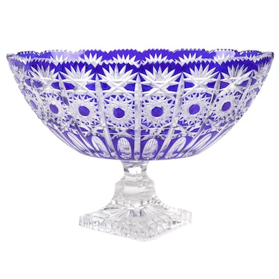 Bohemian Style Cobalt Blue Cut To Clear Crystal Compote