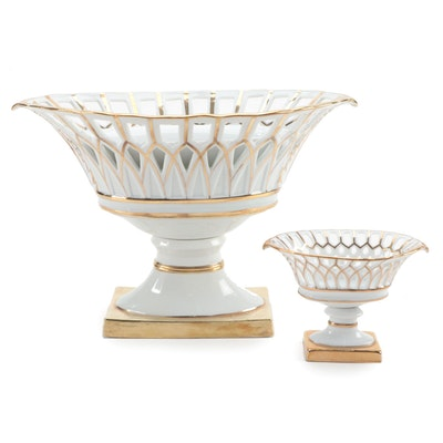 Reticulated Gilt Porcelain Centerpiece Baskets, Mid to Late 20th C.