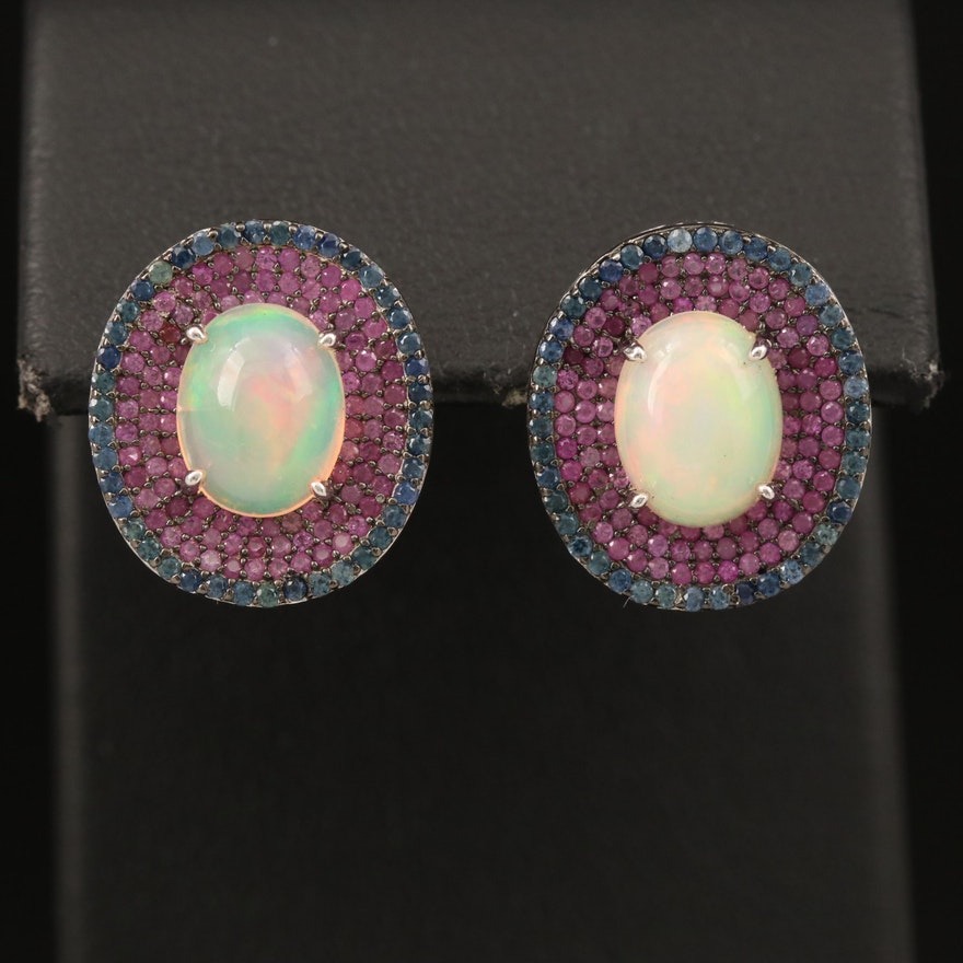 Sterling Opal, Ruby and Sapphire Concentric Earrings