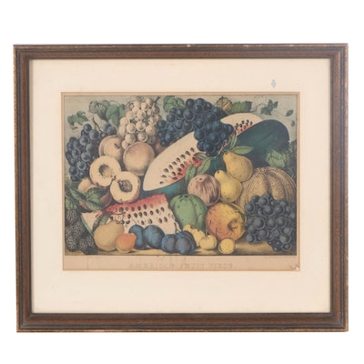 """Currier & Ives Hand-Colored Lithograph """"American Fruit Piece"""""""