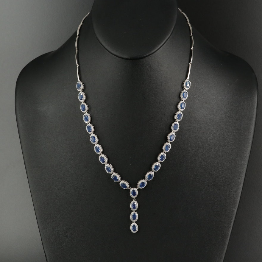 """Sterling Silver Sapphire and Cubic Zirconia """"Y""""' Necklace"""