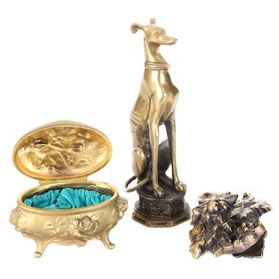 Brainard & Wilson Jewelry Box with CHC Brass Door Knocker and Greyhound Figurine