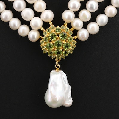 Sterling Multi-Row Pearl and Peridot Cluster Necklace