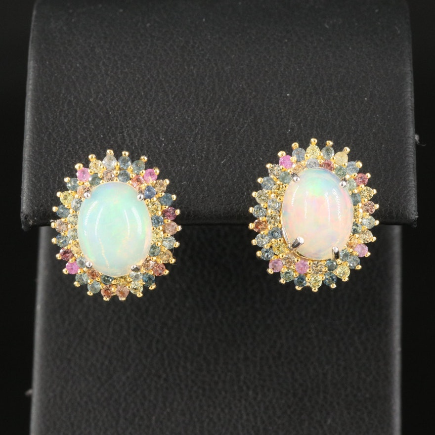 Sterling Silver Opal and Sapphire Halo Earrings
