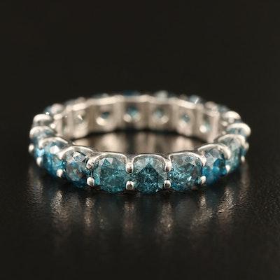 14K 3.96 CTW Fancy Blue Diamond Eternity Band