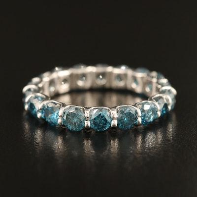 14K 3.36 CTW Fancy Blue Diamond Eternity Band
