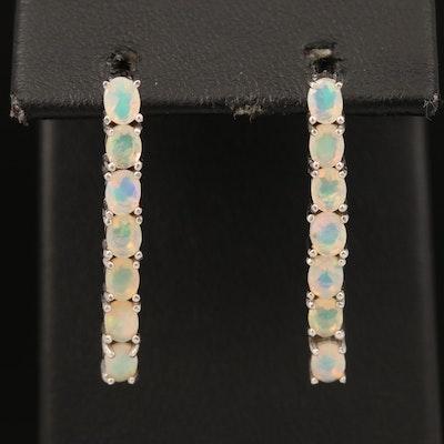 Sterling Opal Line Earrings