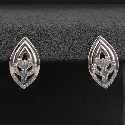 Sterling Cat's Eye Alexandrite and Zircon Openwork Earrings