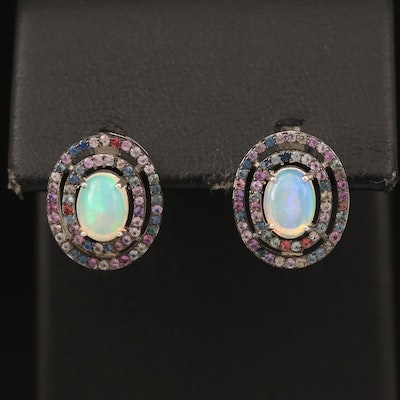 Sterling Opal and Sapphire Concentric Earrings