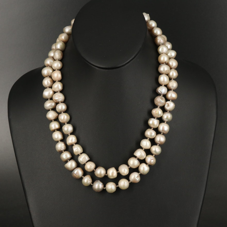 Double Strand Pearl Necklace with Sterling Clasp