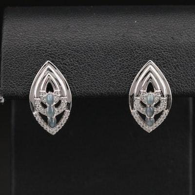 Sterling Cat's Eye Alexandrite and Zircon Navette Earrings
