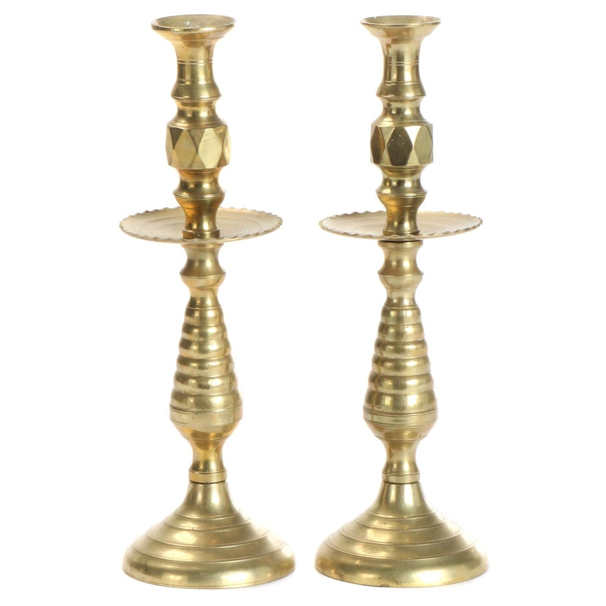 Pair of English Diamond and Beehive Candlesticks, Antique