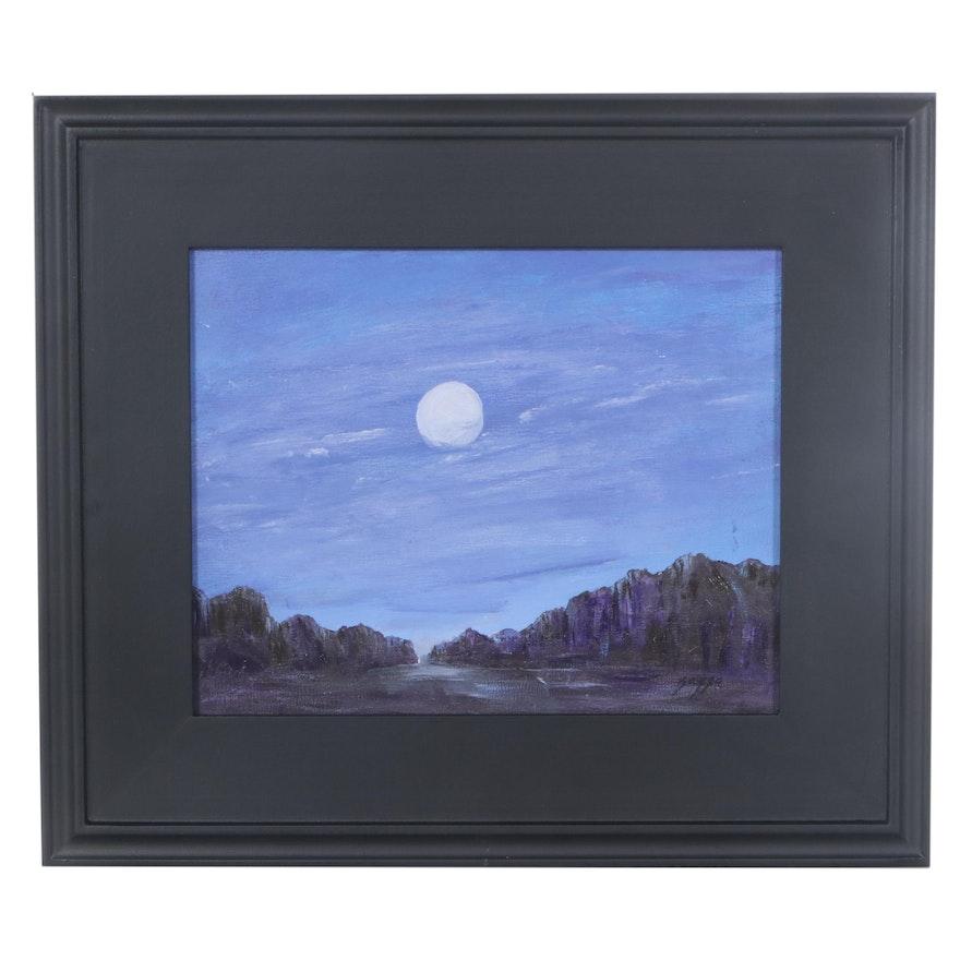 "Sanna Landscape Acrylic Painting ""Moonlight,"" 2021"