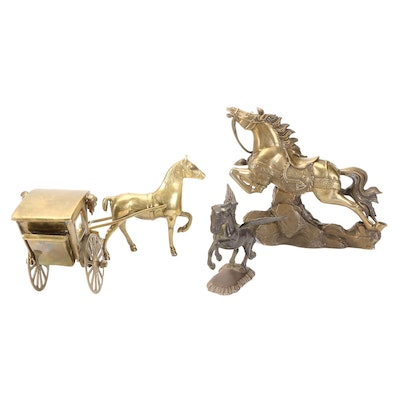 Brass Charging Horse, Pegasus and Carriage Figurines